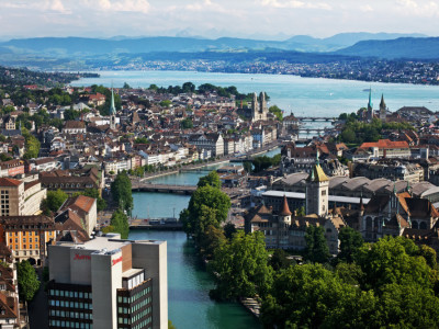 Aerial view of the Zurich Marriott Hotel. July 4, 2011